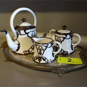 1 Teeset mit Tablett, Crown Staffordshire